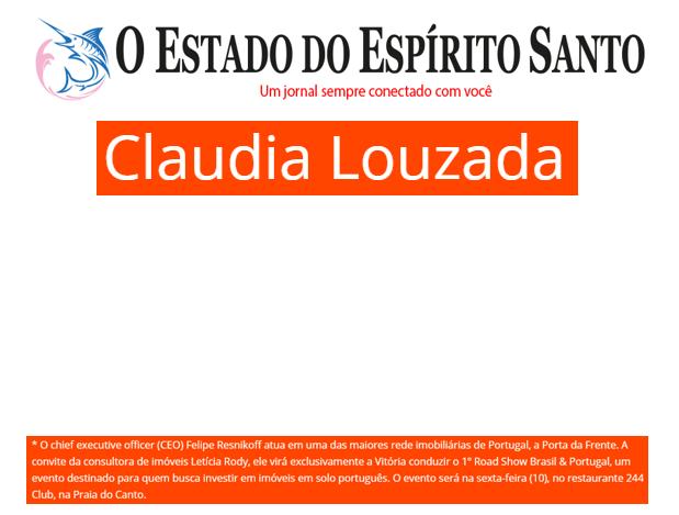 07/11/2017 - Site O Estado do Espirito Santo / Coluna Claudia Louzada
